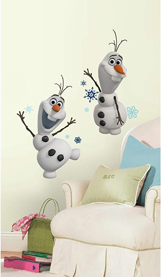 FROZEN OLAF HEAD POPPING OUT BLUE BACKGROUND VINYL WALL  STICKER VARIOUS SIZES