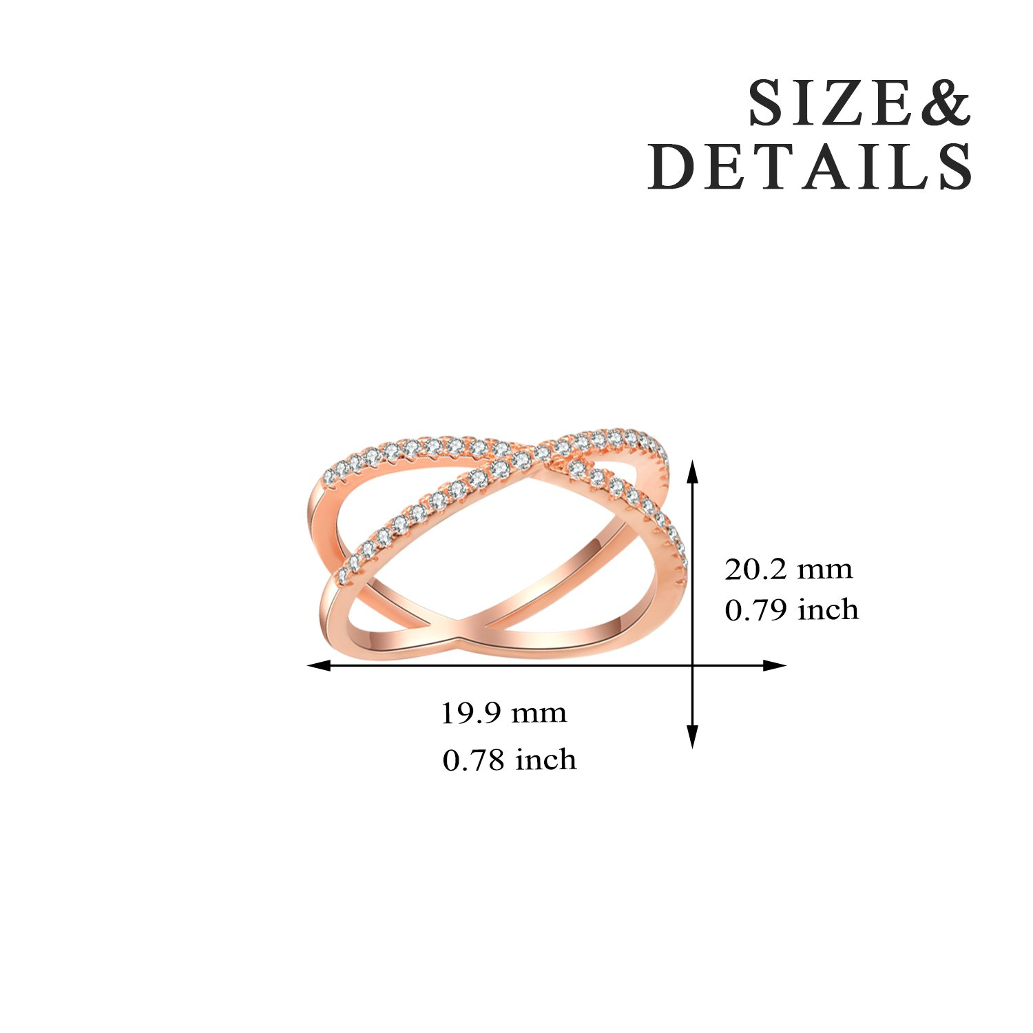 X Ring Sterling Silver, Cubic Zirconia X Criss Cross Ring Women, Size 6-8 (Rose-Gold-Plated-Silver, 7) by SISGEM (Image #2)