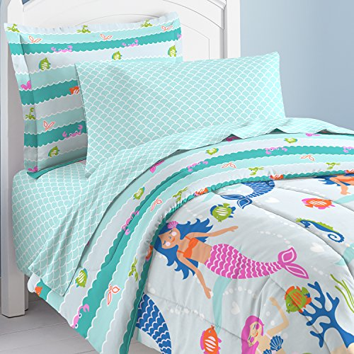 dream FACTORY Mermaid Dreams Comforter Set, Twin, Light Blue