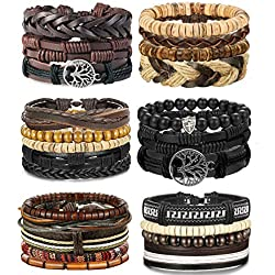 LOLIAS 4-24 Pcs Woven Leather Bracelet for Men Women Cool Leather Wrist Cuff Bracelets Adjustable