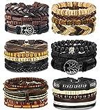 LOLIAS 4-24 Pcs Woven Leather Bracelet for Men Women Cool Leather Wrist Cuff Bracelets Adjustable: more info