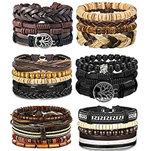 LOLIAS 24 Pcs Woven Leather Bracelet for Men Women Cool Leather Wrist Cuff Bracelets Adjustable