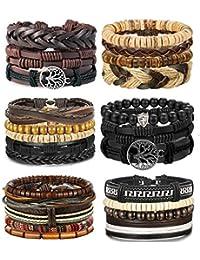 4-24 Pcs Woven Leather Bracelet for Men Women Cool Leather Wrist Cuff Bracelets Adjustable