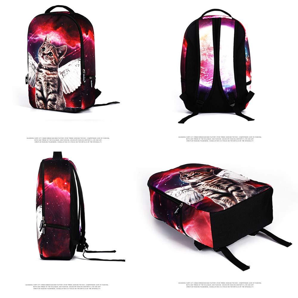 MIYA LTD 3D Cartoon Backpacks Boys,Unisex Fashion Rucksack Laptop Travel Bag Glowing College Bookbag Children's Schoolbag Teenager's Cute Backpack 3D Galaxy Print - Red Cat by MIYA LTD (Image #6)