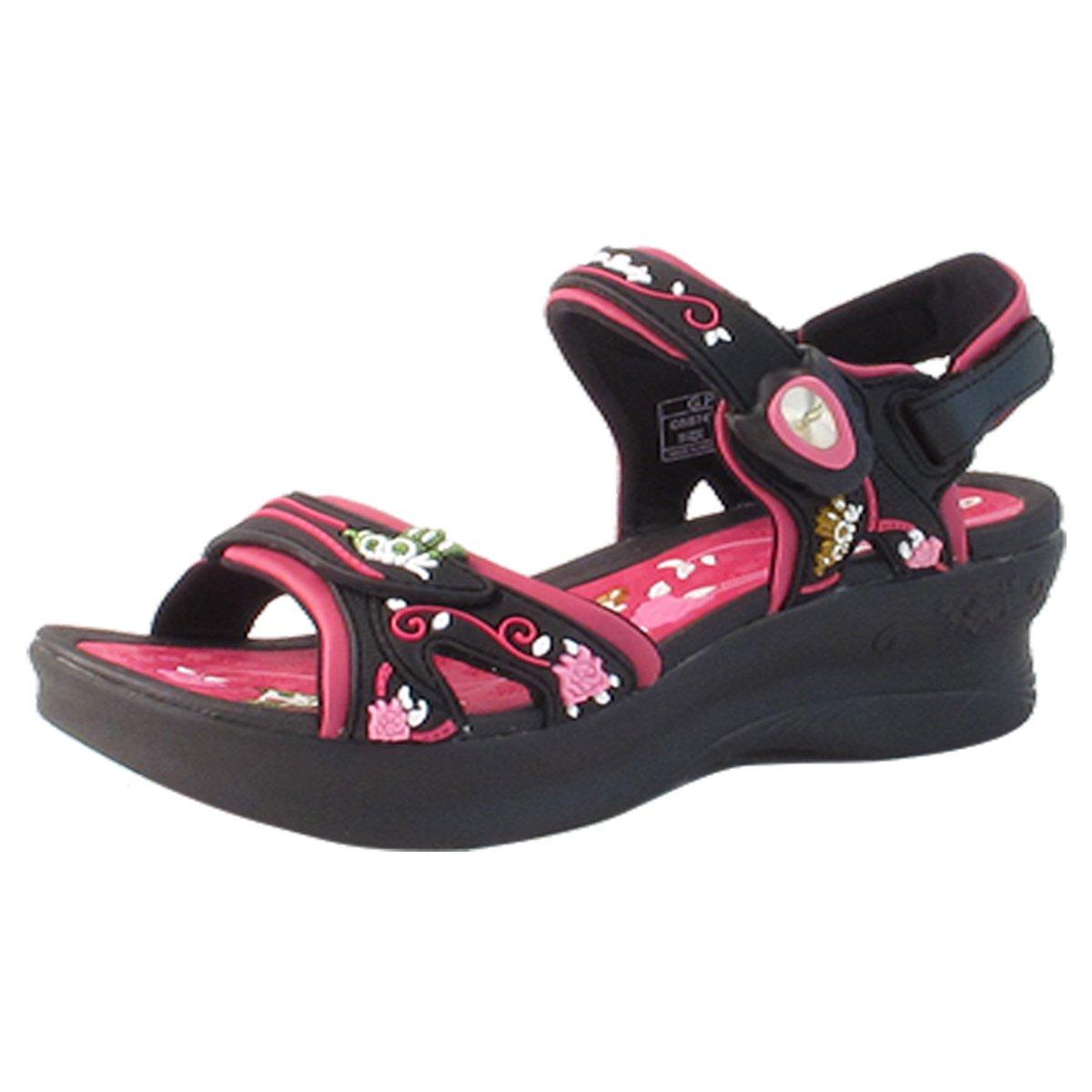 Gold Pigeon GP5974W (Size 4.5-8) Easy Magnetic Snap Lock Closure Light Weight Comfort Platform Sandals (Size 4.5-8) B06XX7H1QQ EU38: US 7|Black Fuchsia