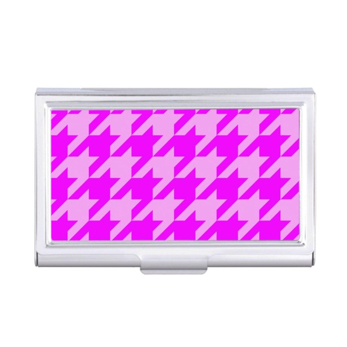 houndstooth 2 pink I Business Card Holder Case
