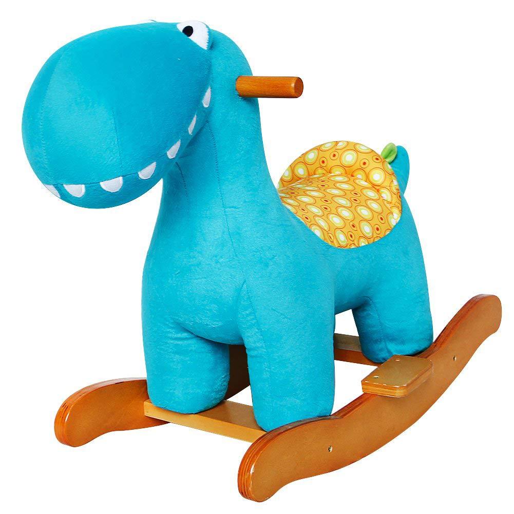 el estilo clásico HONNIEKIS Caballo Mecedora para para para niños - Dinosaurio azul, de Madera con Relleno de Tela, Juegos Infantiles de mecedoras  venderse como panqueques