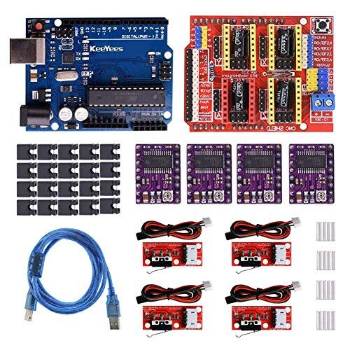 REES52 Professional 3D Printer CNC Kit with for Arduino, CNC Shield V3 w/Jumpers + 4Pcs RAMPS 1.4 Mechanical Switch Endstop & DRV8825 GRBL Stepper Motor Driver Heat Sink