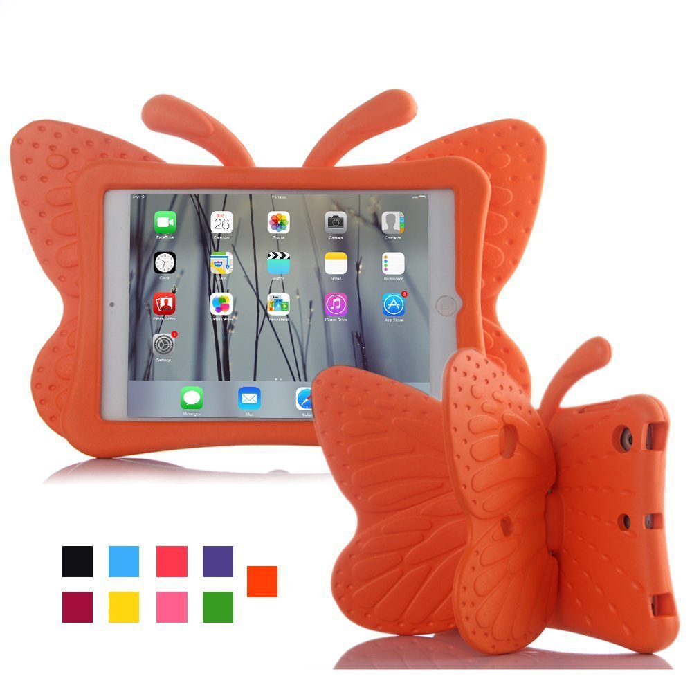 ipad 3 //ipad 4 case for Girl Pink iPad case,Kids-use 3D Cartoon Butterfly Non-toxic Light EVA iPad 2 3 4 case with Stand kickstand Kid proof Shockproof Cover case for ipad 2