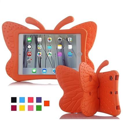 Funda para iPad, mariposa 3d, de EVA liviana no tóxica, con atril, a prueba de niños, a prueba de golpes, funda para iPad 2/iPad 3/iPad 4, para niñas ...