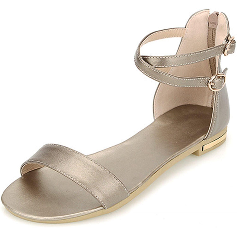 VIMISAOI Women's Leather Buckle Strap Summer Open Toe Ankle Strap Zip Casual Flat Sandals Shoes B0794P3FQC 4 B(M) US|Champagne Color