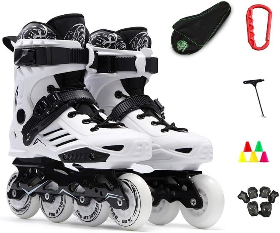 スピードスケート靴、取り外し可能および洗える、プロの通気性フルミートローラースケート、リバースバックル、微調整バックルブラック (色 : 白, サイズ さいず : 44 EU/11 US/10 UK/27cm JP) 白 44 EU/11 US/10 UK/27cm JP
