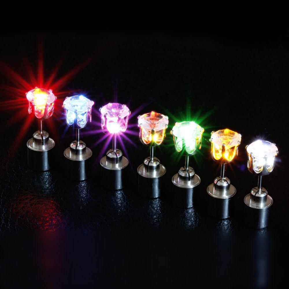 2win2buy 9 Pairs Men Women Light Up LED Earrings Ear Studs XMAS Dance Party Club Decoration