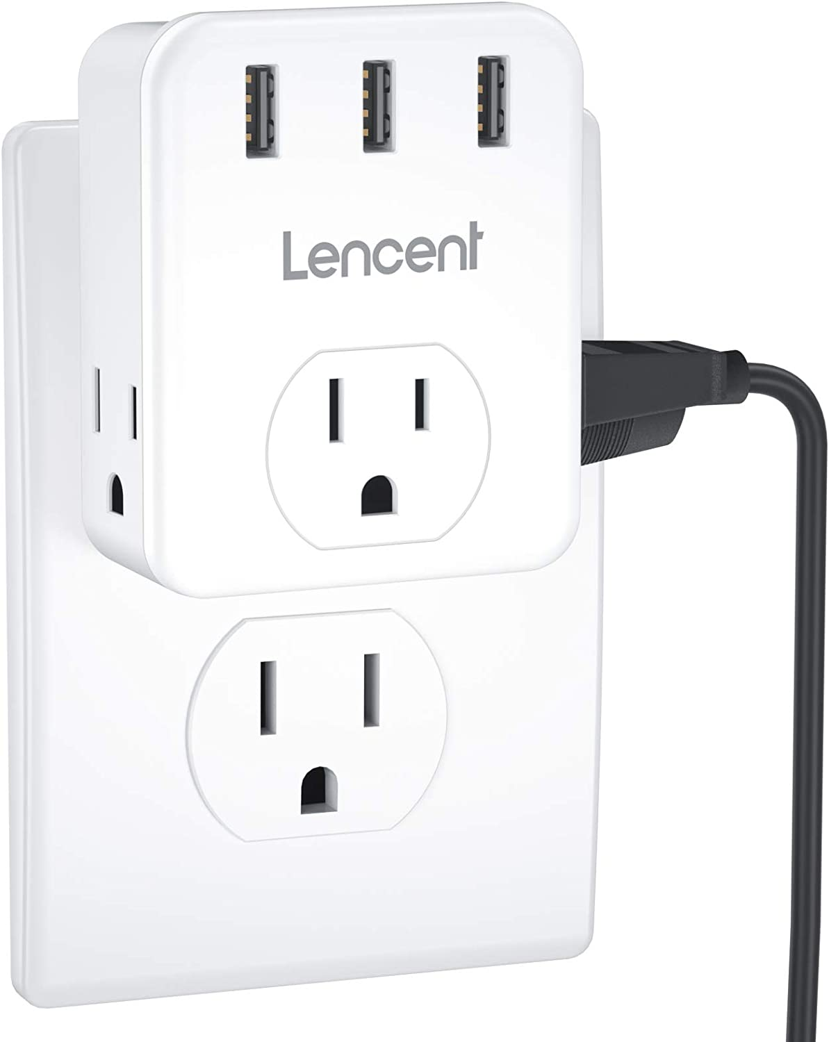 Multi Plug Outlet Extender, LENCENT Electrical 3 Outlets Splitter with 3 USB Ports, Wall Charger, 3 Prong, Multiple Power Outlet Expander for Home, Office, Hotel, Dorm, Cruise Ship Approved