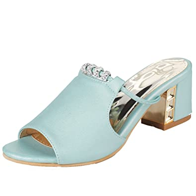 AIYOUMEI Damen Peep Toe Blockabsatz Pantoletten mit 6cm Absatz und Strass Bequem Modern Sandalen
