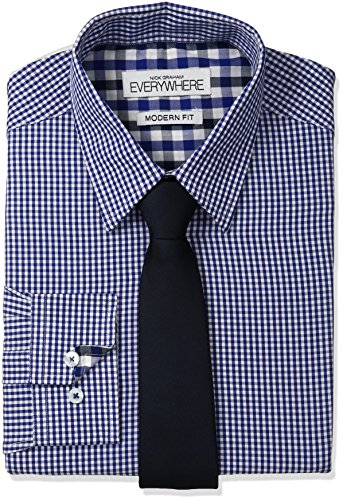 Nick Graham Everywhere Men's Micro Gingham Dress Shirt with Tie Set, Navy 15.5