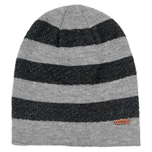 Acrylic Cap - lethmik Stripe Knit Skull Beanie Warm Winter Hat Unisex Acrylic Cap Light Grey