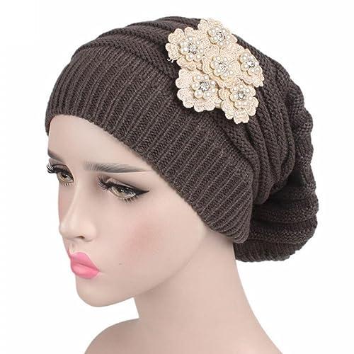 Jamicy Donna moda fiore design inverno maglia cancro cappello caldo berretto