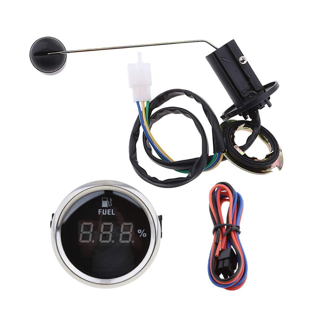 perfk Boat Fuel Level Senso For Fuel Pump Sender w/Digital Fuel Level Meter Gauge