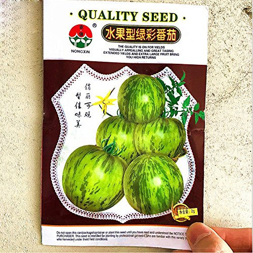 (300+ 'Green Colorful' Indeterminate Tomato Organic Seeds, Original Pack, juicy sweet fruit up to 75grams)