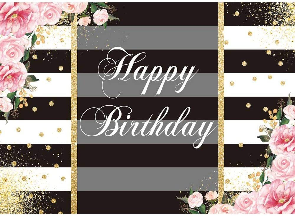 Allenjoy Black White Stripe Pink Floral Happy Birthday Backdrop Golden Glittering Women Lady 30th 40th 50th 60th 70th Kids Bday Party Decration Banner Rose Gold Dots 7x5ft Photo Booth Props