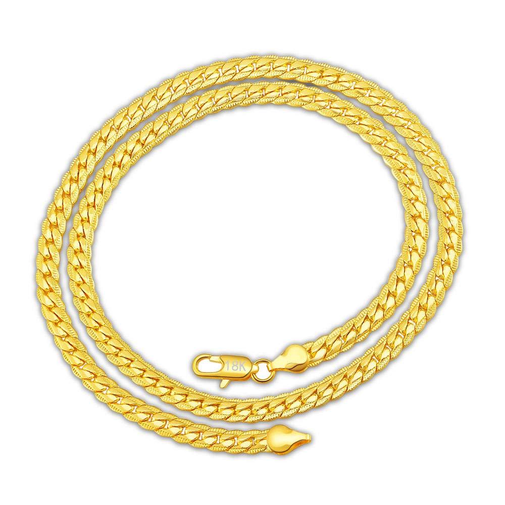 Moda 18k collana del piatto dorato in acciaio inox, Catena gioielli uomini donne Wudi