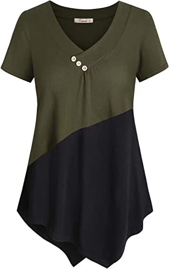 T-Shirt Short Sleeve Round Neck Tunic Color Block Loose Top Black Burgundy White