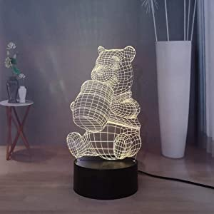 Laysinly Winnie The Pooh LED Night Light, Cartoon Child Bedroom Sleeping Night Lamp, USB Touch Remote Table Lamp, 7 Colors Home Desk Lamp Decor Light, Kids Present Children's Christmas Gift