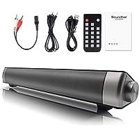 Barre de Son, Onlyct Soundbar 10W Enceinte Bluetooth 4.1, Filaire et sans Fil Haut-Parleur Audio avec Entrée Microphone, Mains-Libres mit Fernbedienung, Cinéma Maison pour TV, Handy, PC, Projektor