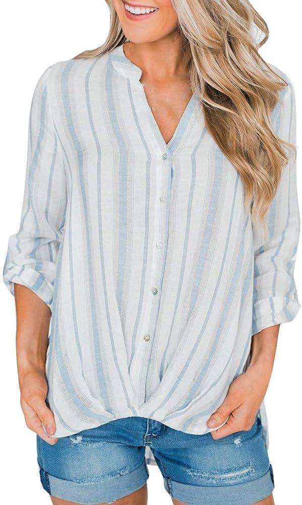 NPRADLA - Camisa de Manga Larga para Mujer, con Lazo en V y Cuello bajo Azul Claro XXL: Amazon.es: Ropa y accesorios