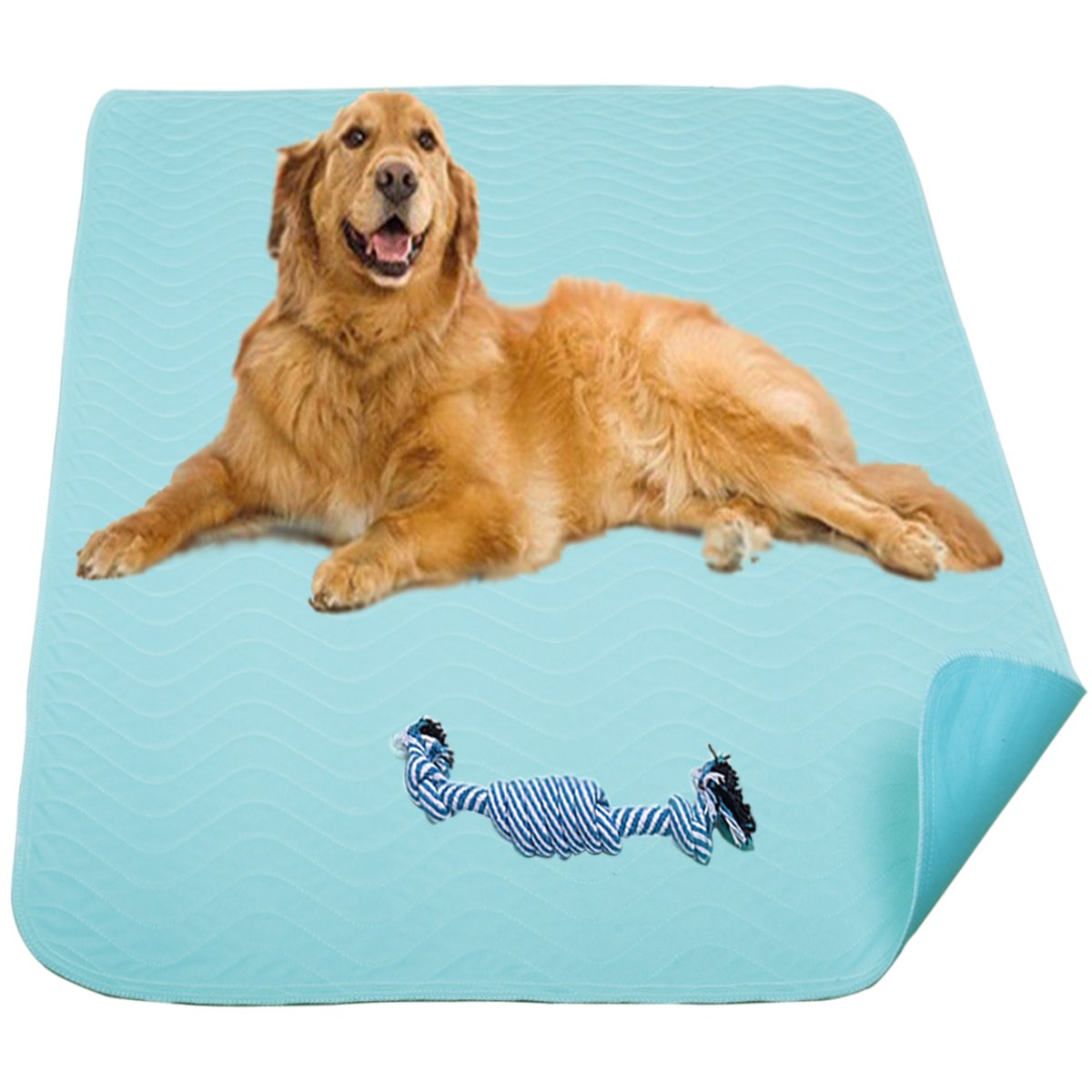 Washable Pee Pads for Dogs, 2 Pack Super Absorbent Reusable Pet Puppy Training Mat with Cotton Dog Chew Toy, 4-layer Impermeable, Quick-Dry, Machine Washable 36'' x 31''