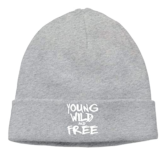 d470989bbe2 UERSBLY Young Wild Free Warm Soft Daily Beanie Caps - Cotton Solid Color  Knitted Hats Men Women at Amazon Men s Clothing store