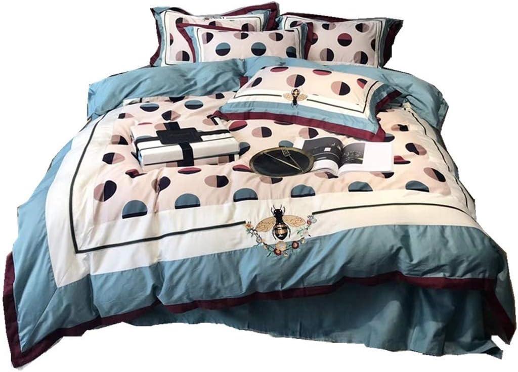 BestBed 寝具綿4個完全なベッドセット秋と冬暖かく保つX1掛け布団カバーX2ピローケースとX1フィットシート1.5m / 1.8m / 2.0m (Size : 1.8 m (6 feet))