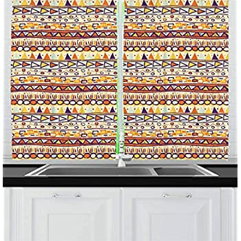 Amazon Com Ambesonne Aztec Kitchen Curtains Traditional