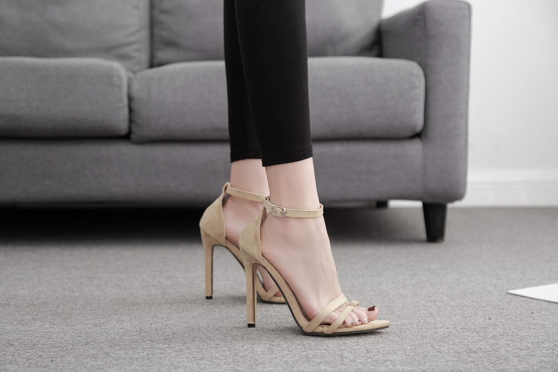 FengJingYuan Sandali da Donna - Parola Parola Parola Semplice con Scarpe Sexy in Pelle Scamosciata con Tacco Alto, 1,38 d91513