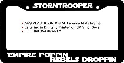Star Wars Inspired Plastic License Plate Frame Decal Vinyl