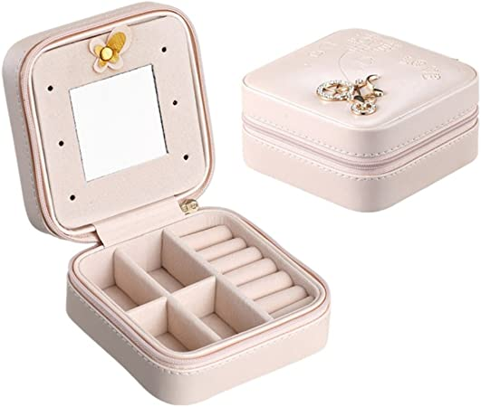 EFINNY Mini organizador de joyas Estuche de almacenamiento de la joyería de viaje de cuero de la PU Porta accesorios: Amazon.es: Hogar