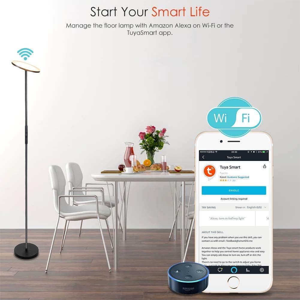 Wifi Smart pie techo foco teckin inteligente regulable LED lámpara de pie  Alexa WiFi lámpara de pie fernbedienbar, funciona con Amazon Alexa [Echo,