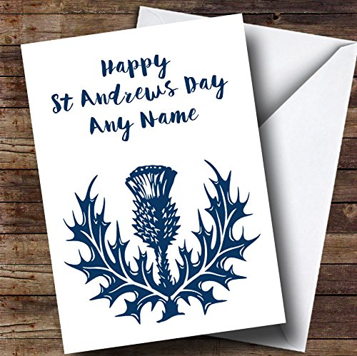 (Blue & White Scottish Thistle Personalized St Andrews Day)