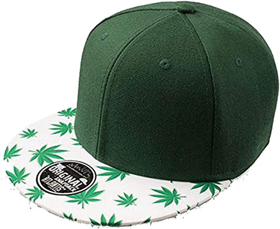 Gorra visera plana con dibujo de hojas de marihuana. Seis paneles ...