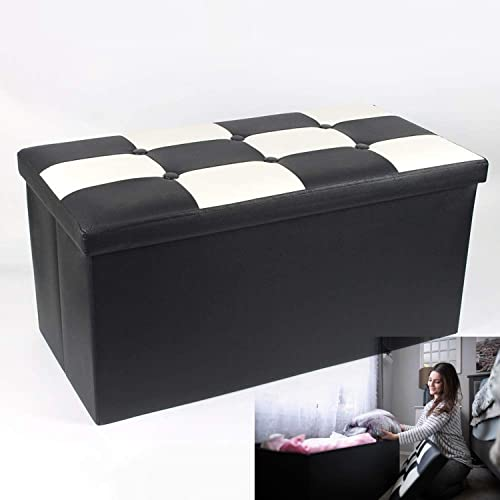B.N.D TOP Folding Storage Ottoman Bench, Storage Chest Footrest Padded Seat, Faux Leather, Black White 30 Inches use it as Shoe Storage Seat or Blanket Chest Black White Bench 30