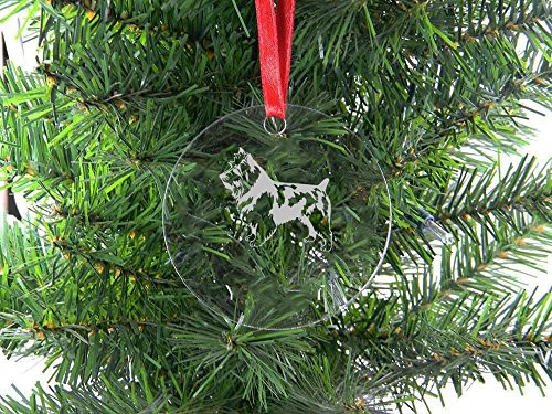 - Personalized Custom Australian Terrier Clear Acrylic Hanging Christmas Tree Ornament with Red Ribbon