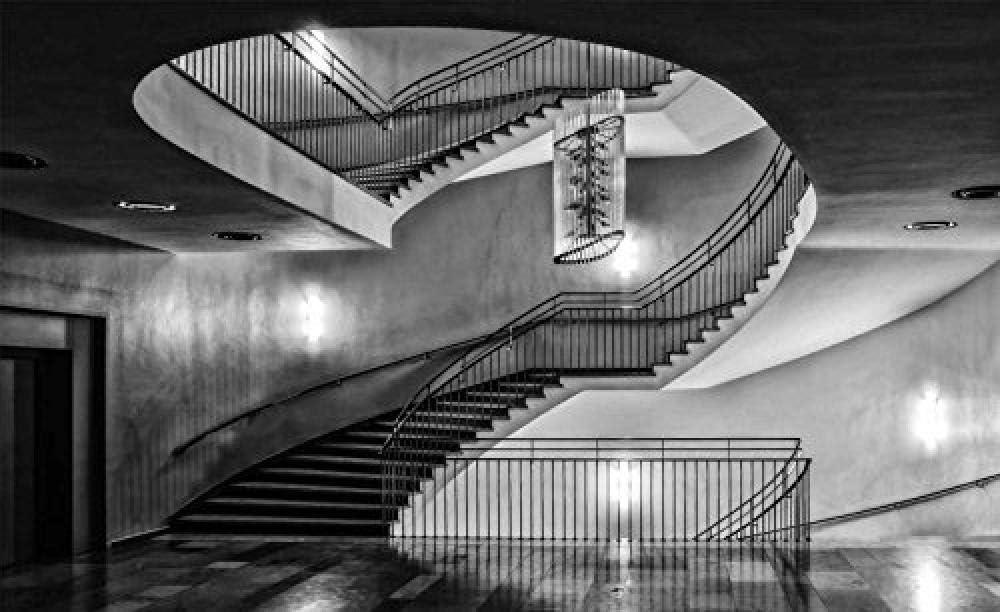 Fotomurales - Murales moderna de Diseno Edificio escalera de caracol puerta de ascensor- Decoración de Pared decorativos - 280x200cm: Amazon.es: Bricolaje y herramientas