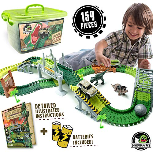 JITTERYGIT Dinosaur Train Track Toy   Jurassic Escape World   Build An Adventure Park   Fun Race Car Set   Awesome Gift for Kids   STEM Learning Toy for Toddlers, Boys And Girls Ages 3, 4, 5, 6, 7, 8+