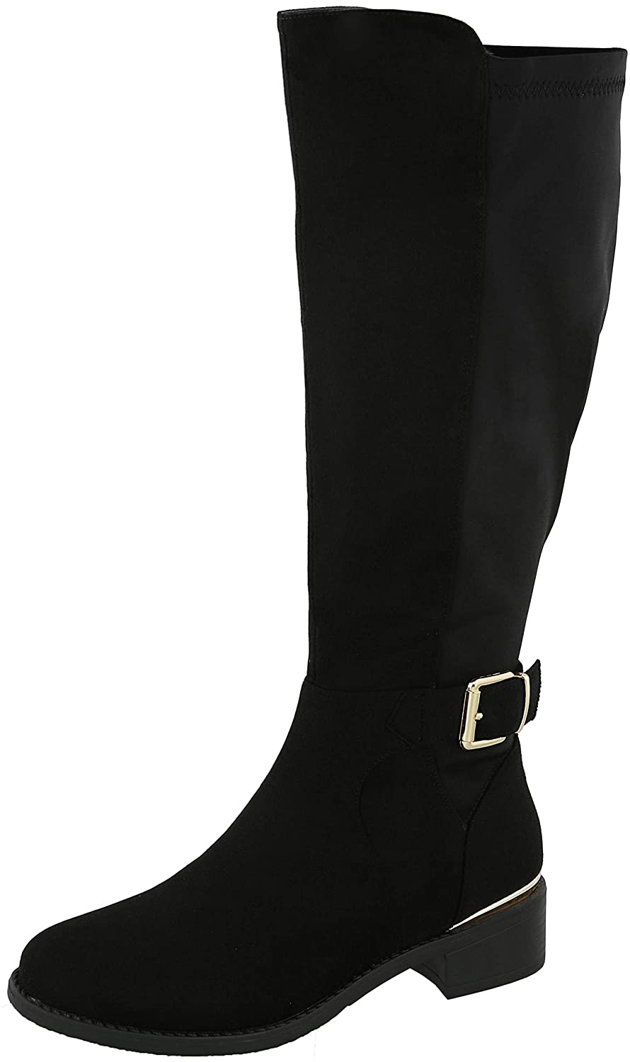 Black Imsu Cambridge Select Women's Round Toe Stretch Low Heel Knee-High Riding Boot