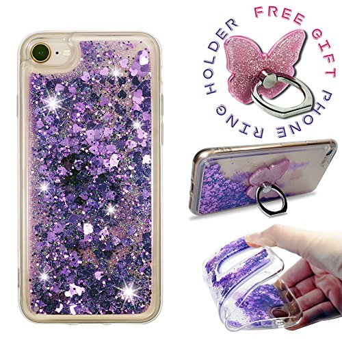 ZASE Design Case Compatible with iPhone 8 7 (4.7 inch) Luxury Waterfall Floating Quicksand Clear Case [Liquid Glitter Sparkly Bling] Shockproof Soft Cover w/ [Phone Ring Holder Stand] (Purple Violet)