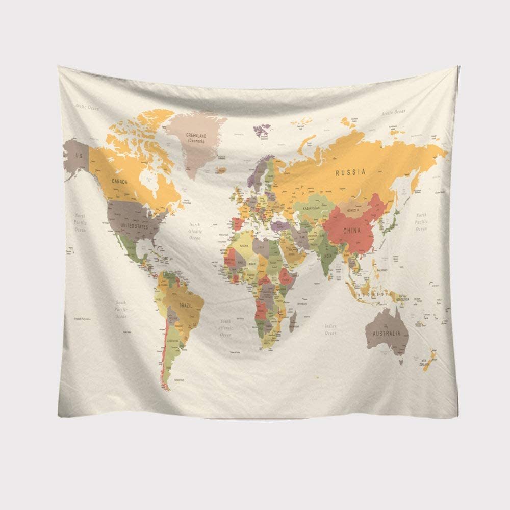 World Map Tapestry Wall Hanging Light Colors, Psychedelic Bohemian Hippie Trippy Wall Tapestry Home Decorations for Living Room Bedroom Dorm Decor,78.7×59.1inches (200×150cm)
