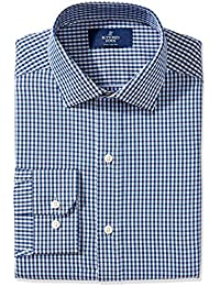 Men's Fitted Spread-Collar Pattern Non-Iron Dress Shirt Without Pocket