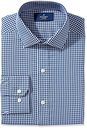 Buttoned Down Men's Fitted Spread-Collar Non-Iron Dress Shirt, Blue/Brown Check, 19