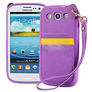 Pioneer Tech Card Holder Pouch PU Leather Case Cover With Lanyard For Samsung Galaxy S3 i9300 -yy (Purple)